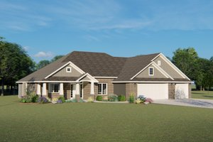 Ranch Exterior - Front Elevation Plan #1064-34