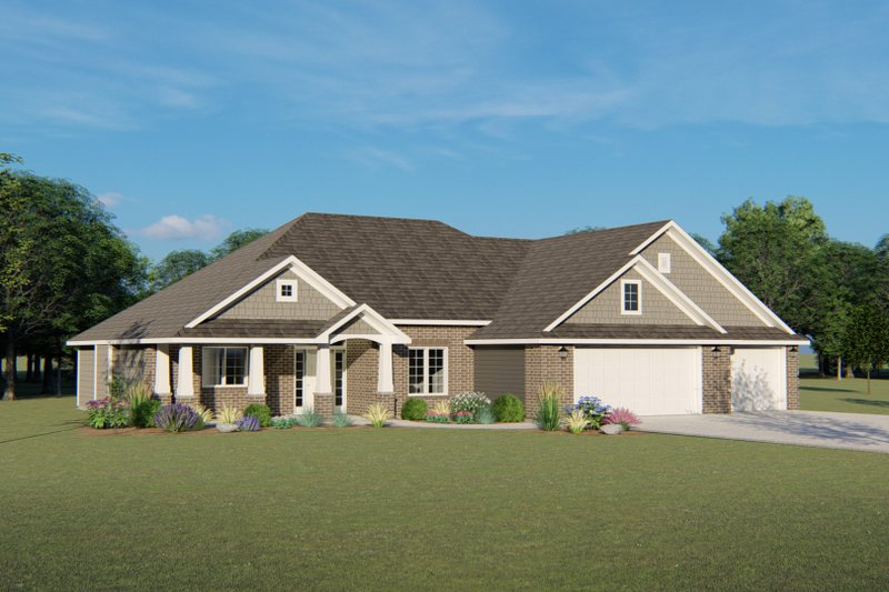 Ranch Style House Plan - 3 Beds 2.5 Baths 2120 Sq/Ft Plan #1064-34 Exterior - Front Elevation