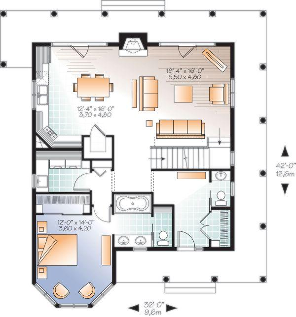 Dream House Plan - Cottage Floor Plan - Main Floor Plan #23-2701