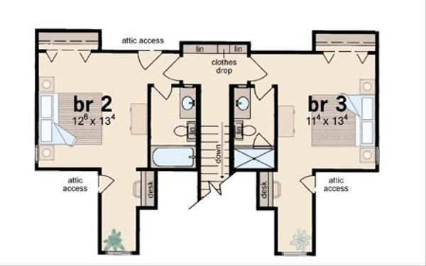 Farmhouse Floor Plan - Upper Floor Plan Plan #36-162