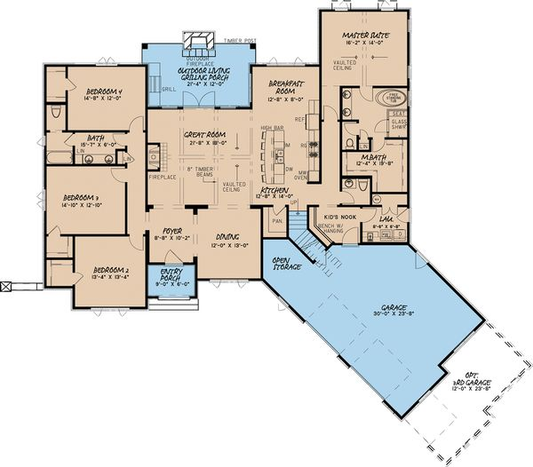 European Floor Plan - Main Floor Plan Plan #923-12