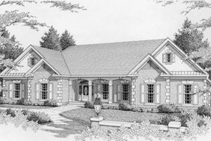 Ranch Exterior - Front Elevation Plan #112-135
