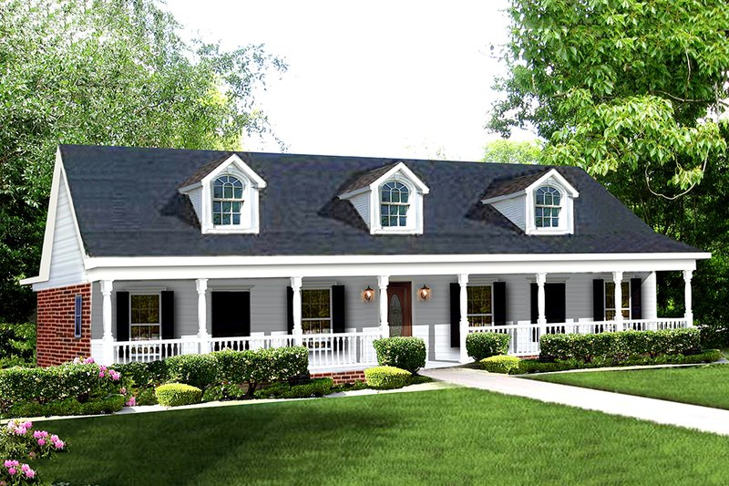 Southern Exterior - Front Elevation Plan #44-106 - Houseplans.com