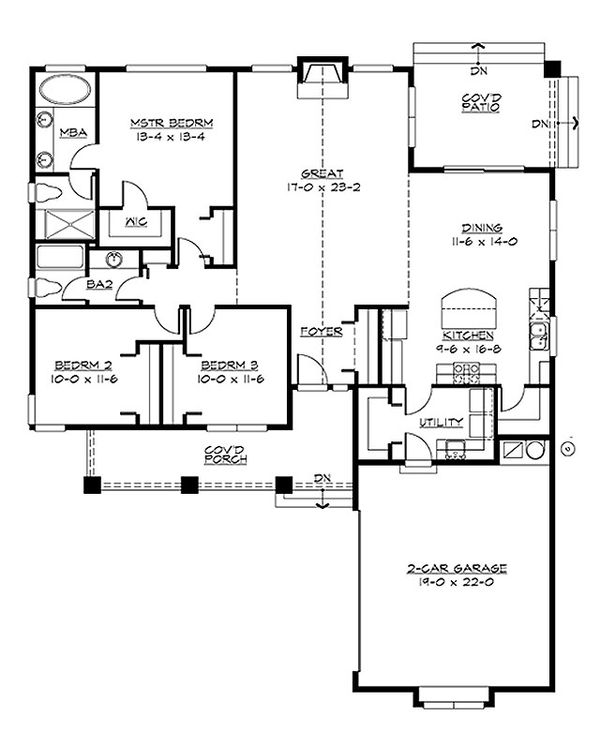 Craftsman Floor Plan - Main Floor Plan Plan #132-198