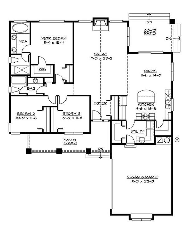 Craftsman Floor Plan - Main Floor Plan Plan #132-198