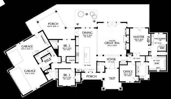 Craftsman Floor Plan - Main Floor Plan #48-688