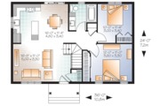Ranch Style House Plan - 2 Beds 1 Baths 864 Sq/Ft Plan #23-2663 Floor Plan - Main Floor