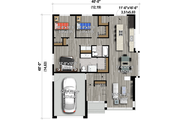 Contemporary Style House Plan - 3 Beds 2 Baths 1414 Sq/Ft Plan #25-4909
