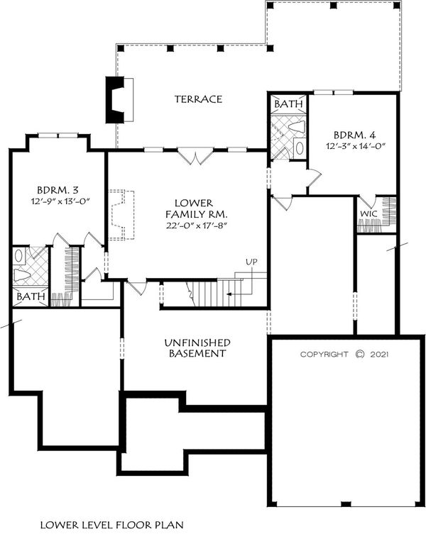 Dream House Plan - Craftsman Floor Plan - Lower Floor Plan #927-1012
