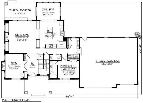 Craftsman Floor Plan - Main Floor Plan #70-1185