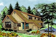 Contemporary Style House Plan - 3 Beds 2.5 Baths 1419 Sq/Ft Plan #456-8 Exterior - Front Elevation