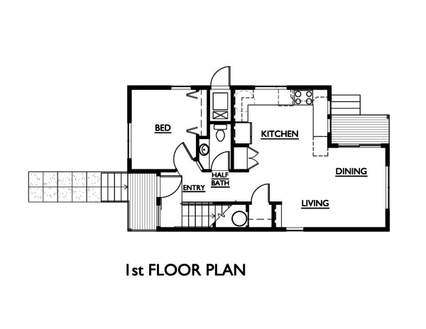 Modern Style House Plan - 3 Beds 1.5 Baths 1248 Sq/Ft Plan #890-5 Floor Plan - Main Floor Plan