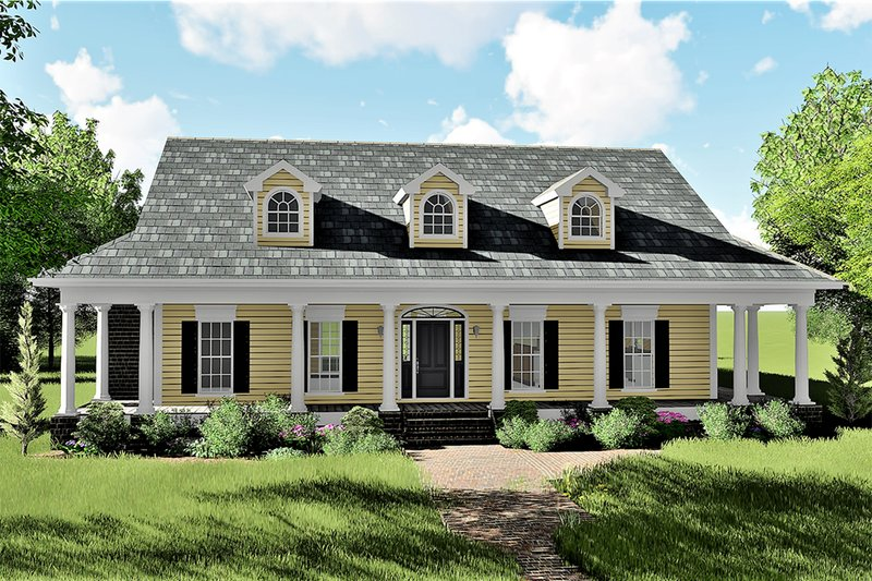 Architectural House Design - Country Exterior - Front Elevation Plan #44-155
