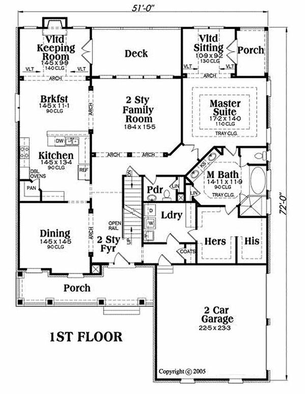 Traditional Floor Plan - Main Floor Plan Plan #419-154