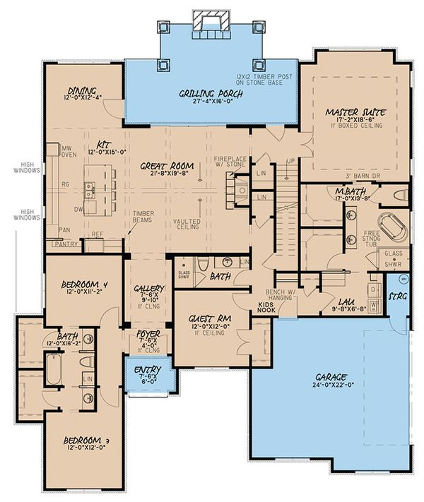 House Plan Design - European Floor Plan - Main Floor Plan #923-50