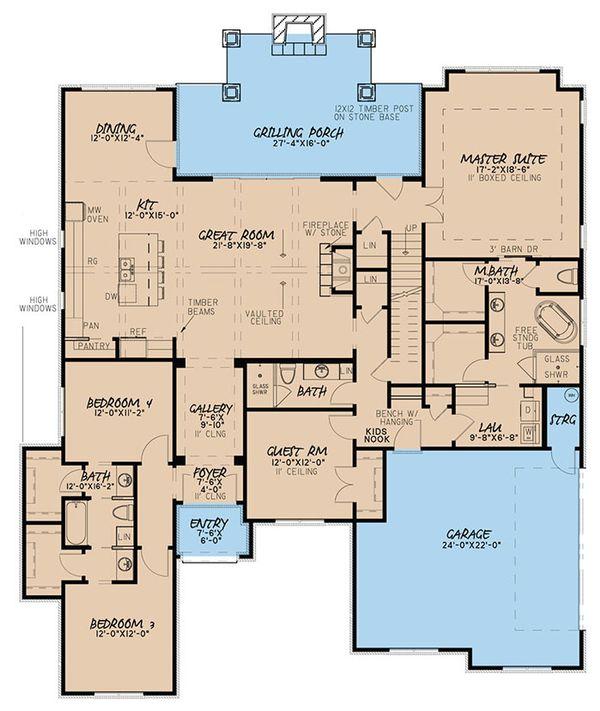 Architectural House Design - European Floor Plan - Main Floor Plan #923-50