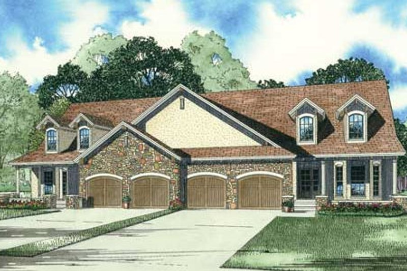 Country Style House Plan - 2 Beds 2.5 Baths 3794 Sq/Ft Plan #17-2301 Exterior - Front Elevation