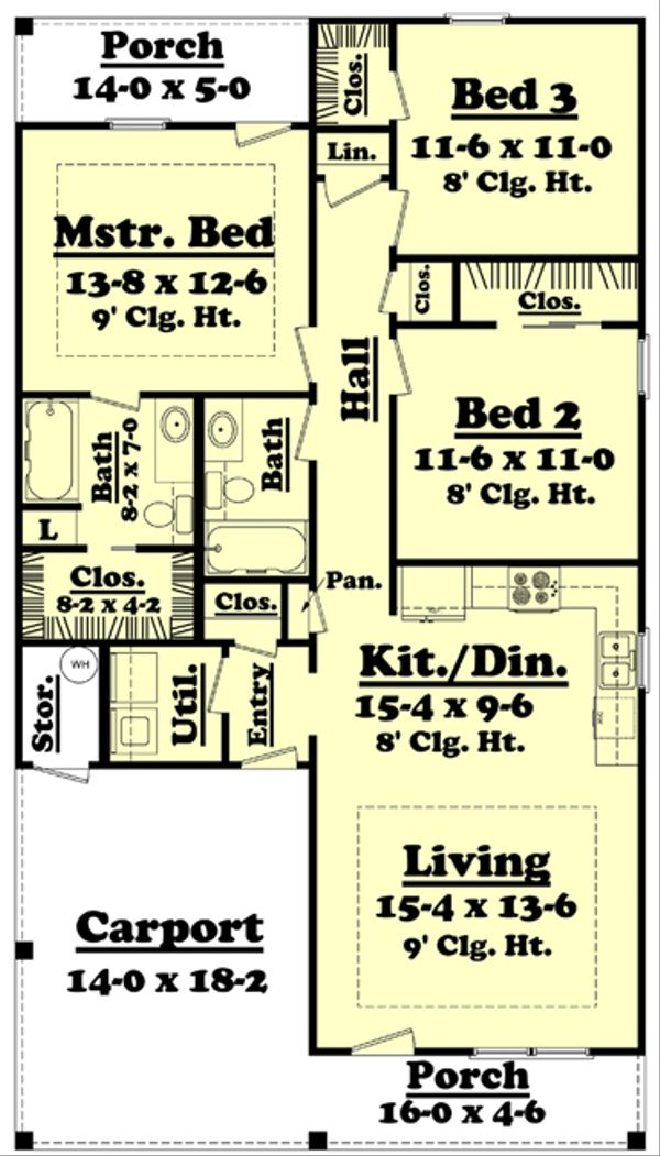 House Design - Traditional Floor Plan - Main Floor Plan #430-38