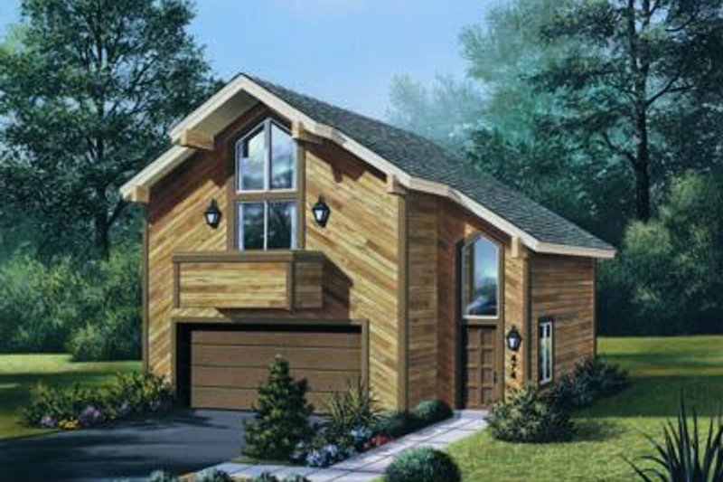 Contemporary Style House Plan - 1 Beds 1 Baths 654 Sq/Ft Plan #57-149 Exterior - Front Elevation