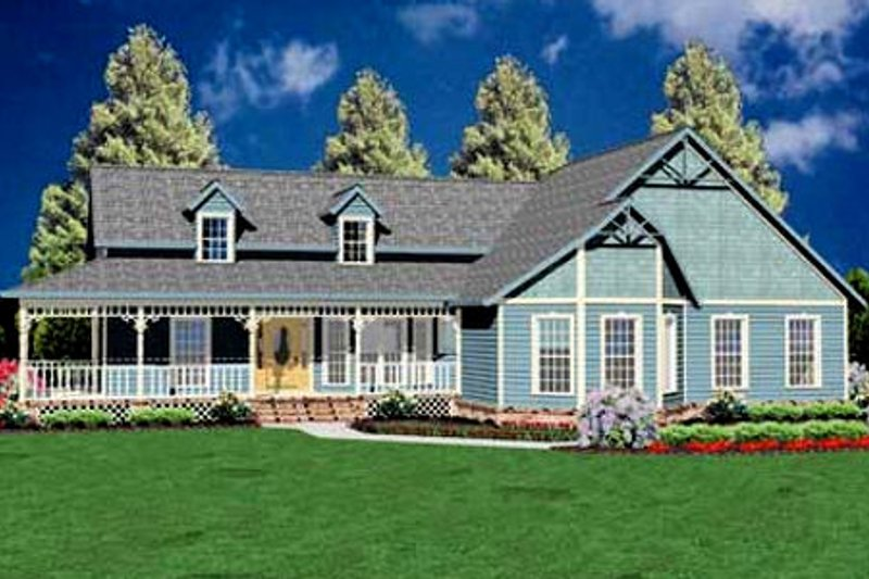 Farmhouse Style House Plan - 3 Beds 2 Baths 1788 Sq/Ft Plan #36-150 Exterior - Front Elevation