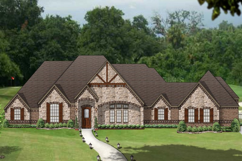 European Style House Plan - 4 Beds 3 Baths 3595 Sq/Ft Plan #84-612 Exterior - Front Elevation