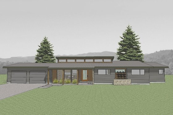 Modern Exterior - Front Elevation Plan #519-2