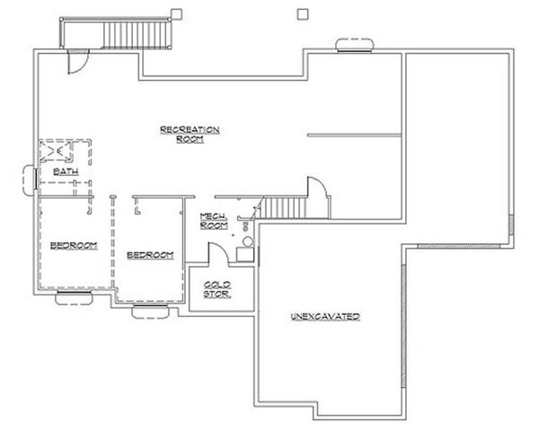 Colonial Floor Plan - Lower Floor Plan Plan #5-237