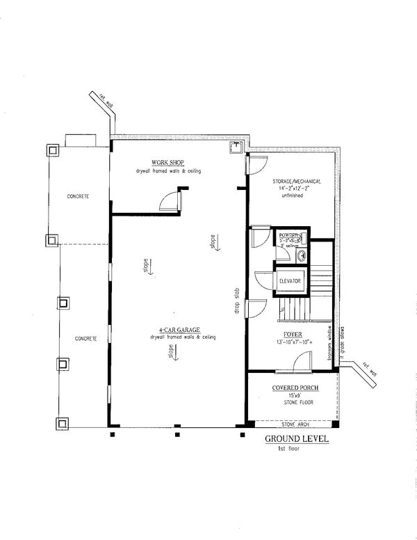 Southern Floor Plan - Lower Floor Plan Plan #437-57