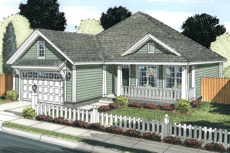 Cottage Style House Plan - 3 Beds 2 Baths 1598 Sq/Ft Plan #513-2082 Exterior - Front Elevation