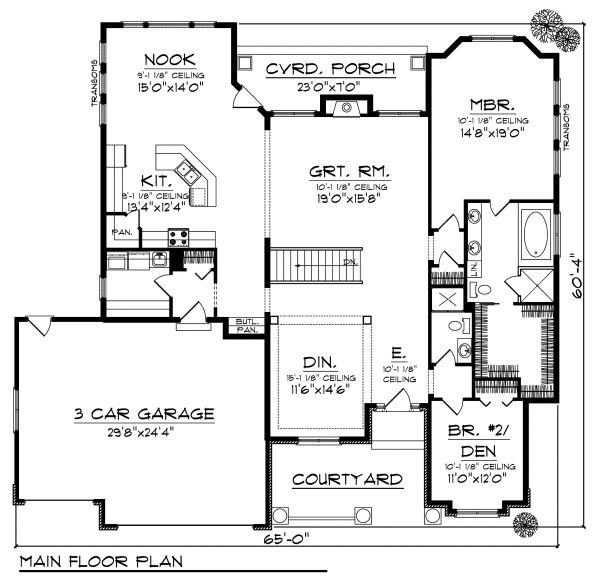 European Floor Plan - Main Floor Plan Plan #70-872