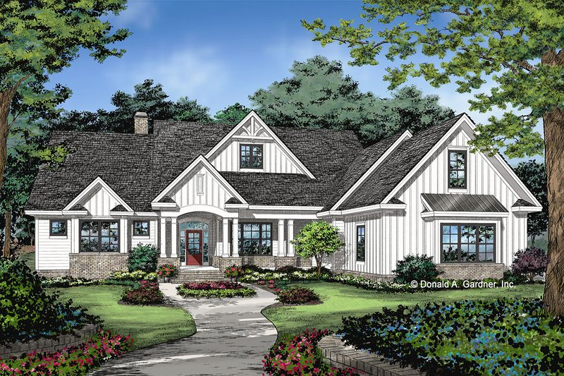 Farmhouse Style House Plan - 4 Beds 3 Baths 2494 Sq/Ft Plan #929-1070 Exterior - Front Elevation