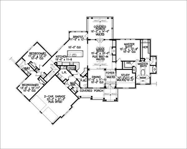 Farmhouse Floor Plan - Main Floor Plan Plan #54-383