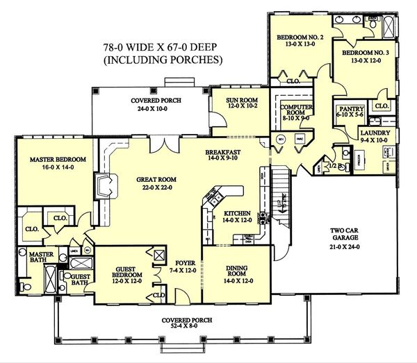 Home Plan Design - Southern Floor Plan - Main Floor Plan #44-113