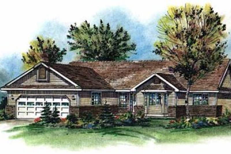 Architectural House Design - Ranch Exterior - Front Elevation Plan #18-197
