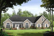 Ranch Style House Plan - 3 Beds 2.5 Baths 1992 Sq/Ft Plan #21-240 Exterior - Front Elevation