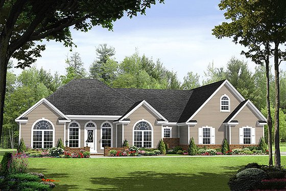 Ranch Exterior - Front Elevation Plan #21-240