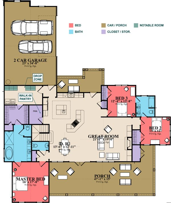 Craftsman Floor Plan - Main Floor Plan Plan #63-371