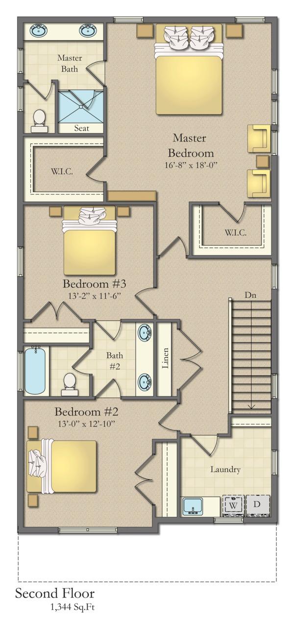 Traditional Floor Plan - Upper Floor Plan Plan #1057-13