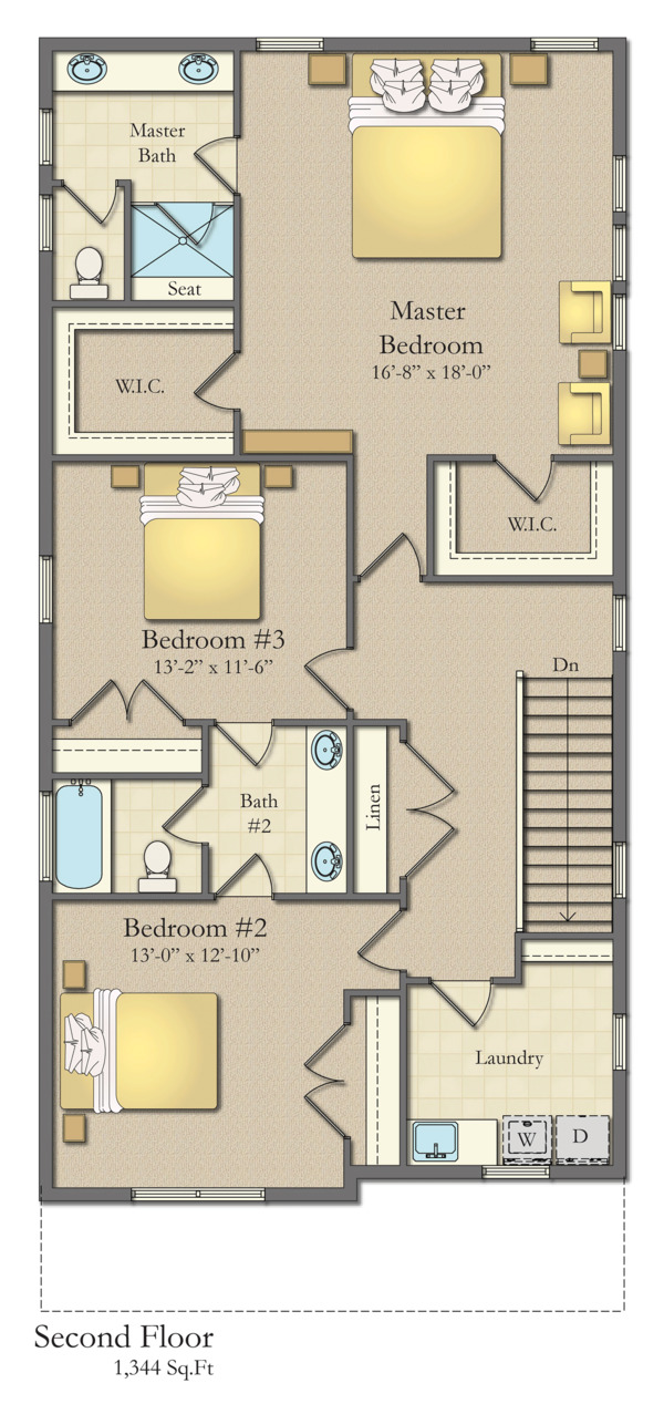 House Plan Design - Traditional Floor Plan - Upper Floor Plan #1057-13