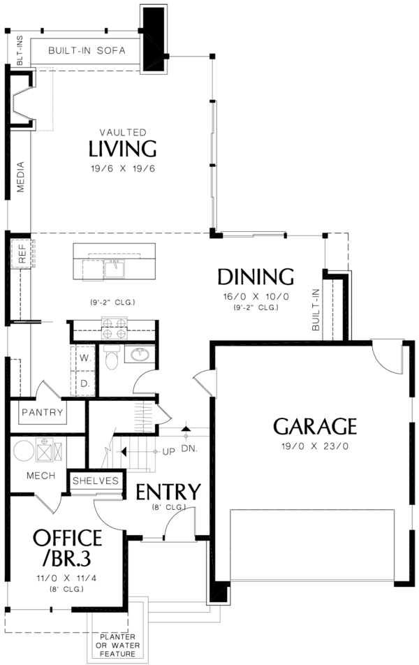 Contemporary Floor Plan - Main Floor Plan Plan #48-692