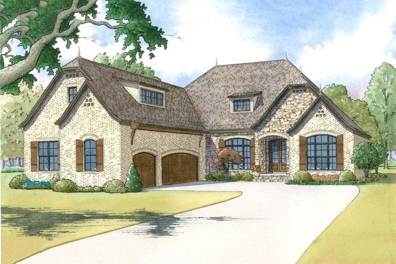 European Style House Plan - 3 Beds 3.5 Baths 2409 Sq/Ft Plan #923-8 Exterior - Front Elevation