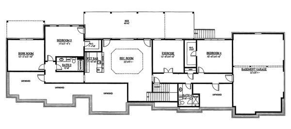 Craftsman Floor Plan - Lower Floor Plan Plan #437-96