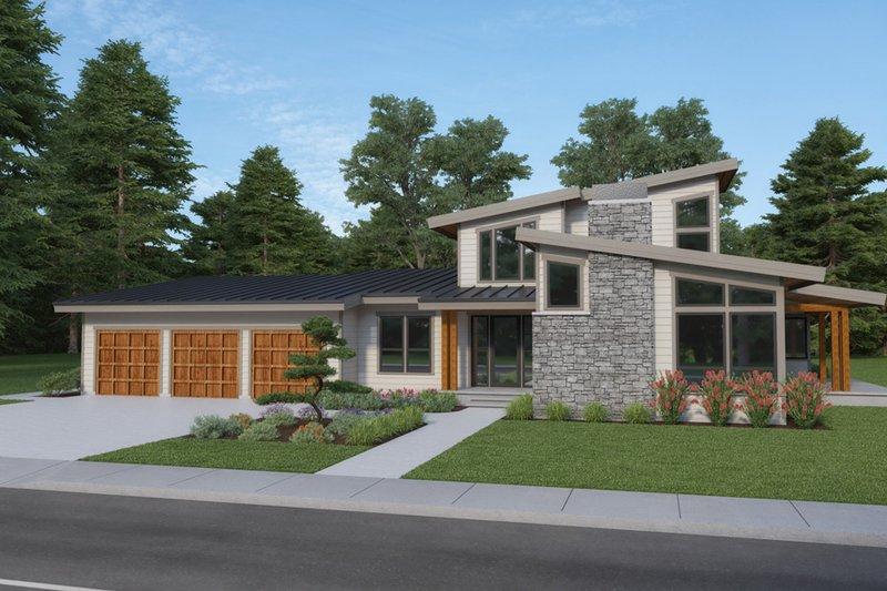 Contemporary Style House Plan - 3 Beds 2.5 Baths 3156 Sq/Ft Plan #1070-115 Exterior - Front Elevation