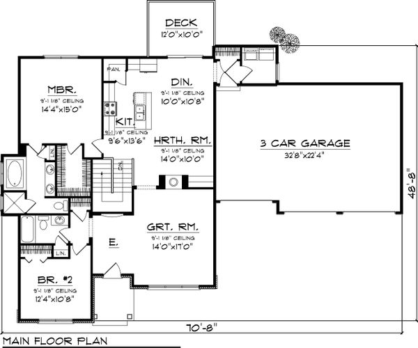 Craftsman Floor Plan - Main Floor Plan Plan #70-1042