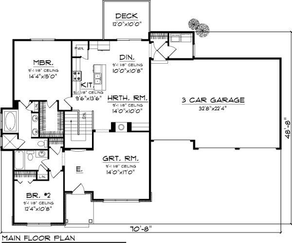 Craftsman Floor Plan - Main Floor Plan Plan #70-1042