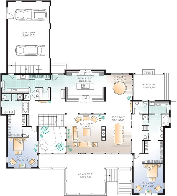 Architectural House Design - Main Level - 9000 square foot Beach home