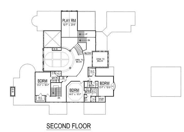 Mediterranean Floor Plan - Upper Floor Plan Plan #458-22