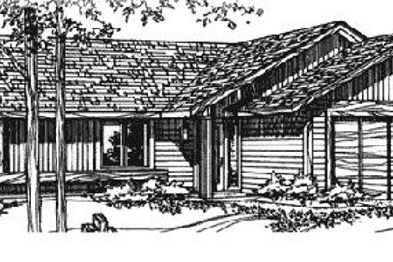 Ranch Style House Plan - 2 Beds 2 Baths 1081 Sq/Ft Plan #320-319 Exterior - Front Elevation