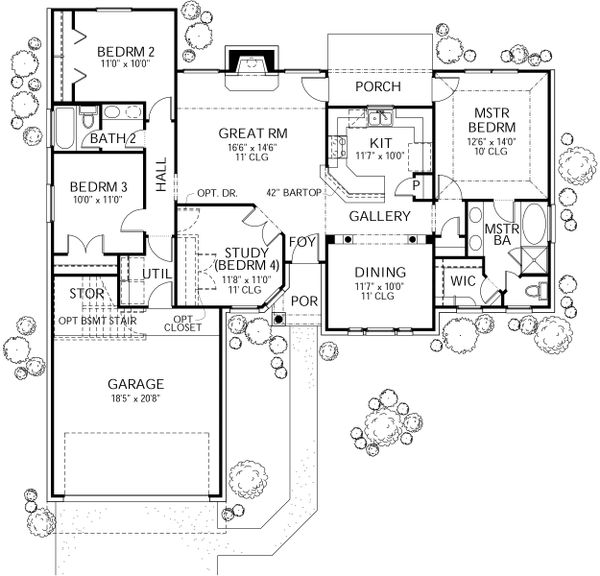 Architectural House Design - Traditional Floor Plan - Main Floor Plan #80-108