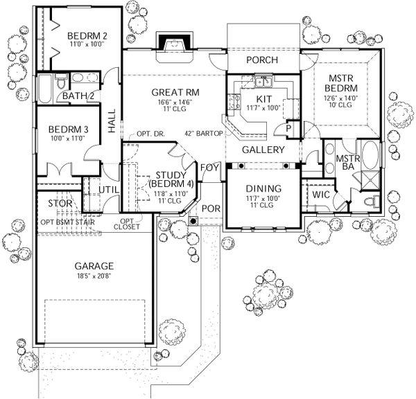 Dream House Plan - Traditional Floor Plan - Main Floor Plan #80-108